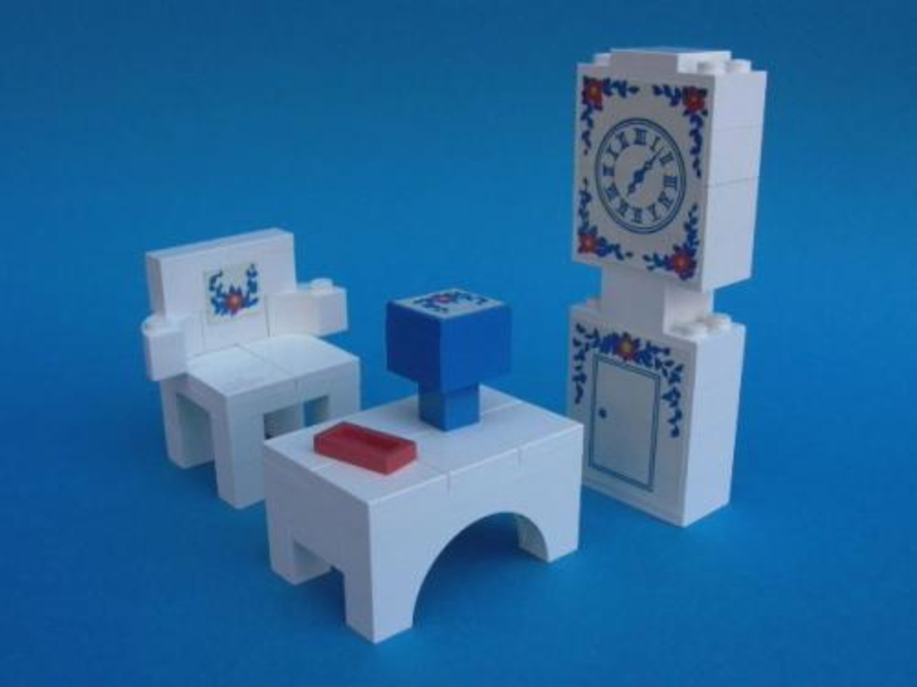 Grandfather Clock, Chair and Table