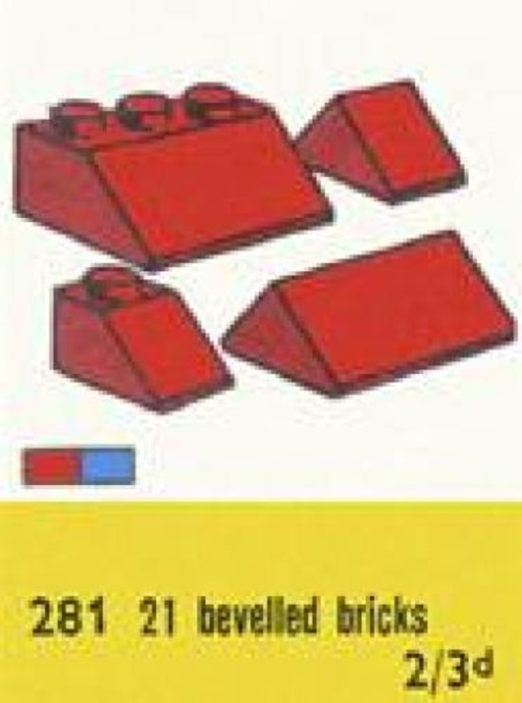 1 x 2 and 3 x 2 Sloping Bricks, Red