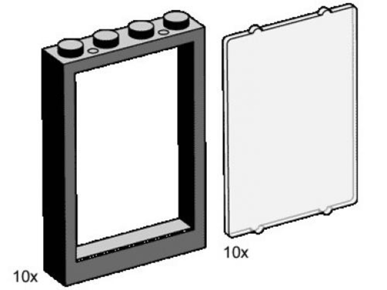 1 x 4 x 5 Black Window Frames with Clear Panes