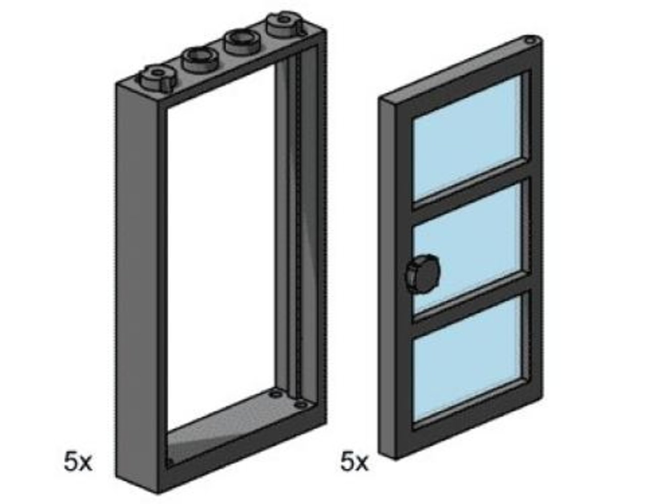 1 x 4 x 6 Black Door Frame with Transparent Blue Panes