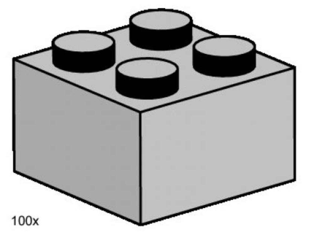 2 x 2 Light Gray Bricks