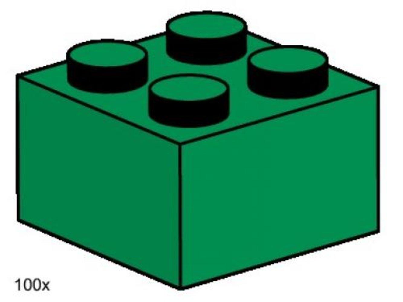 2 x 2 Dark Green Bricks