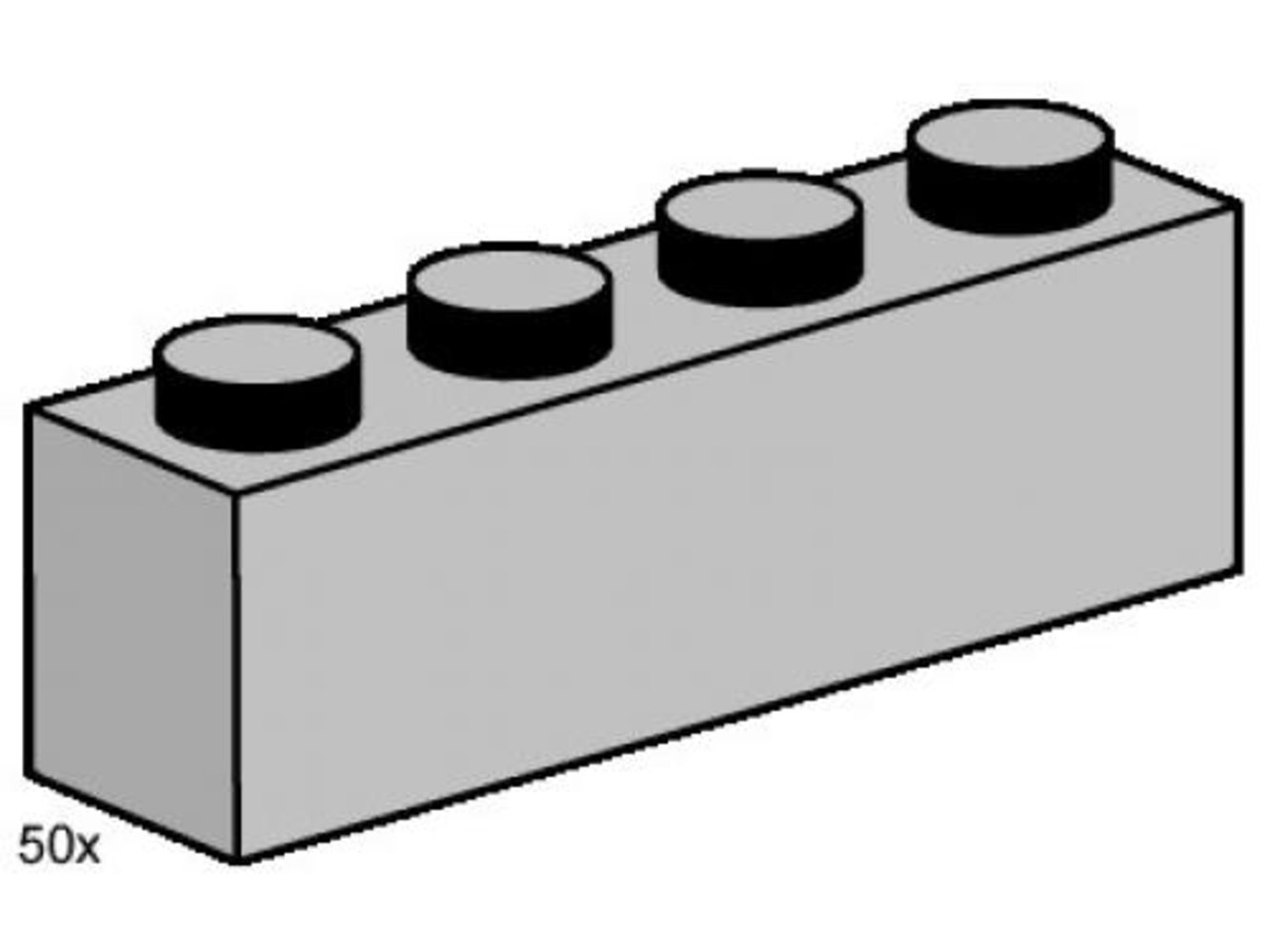 1 x 4 Light Gray Bricks
