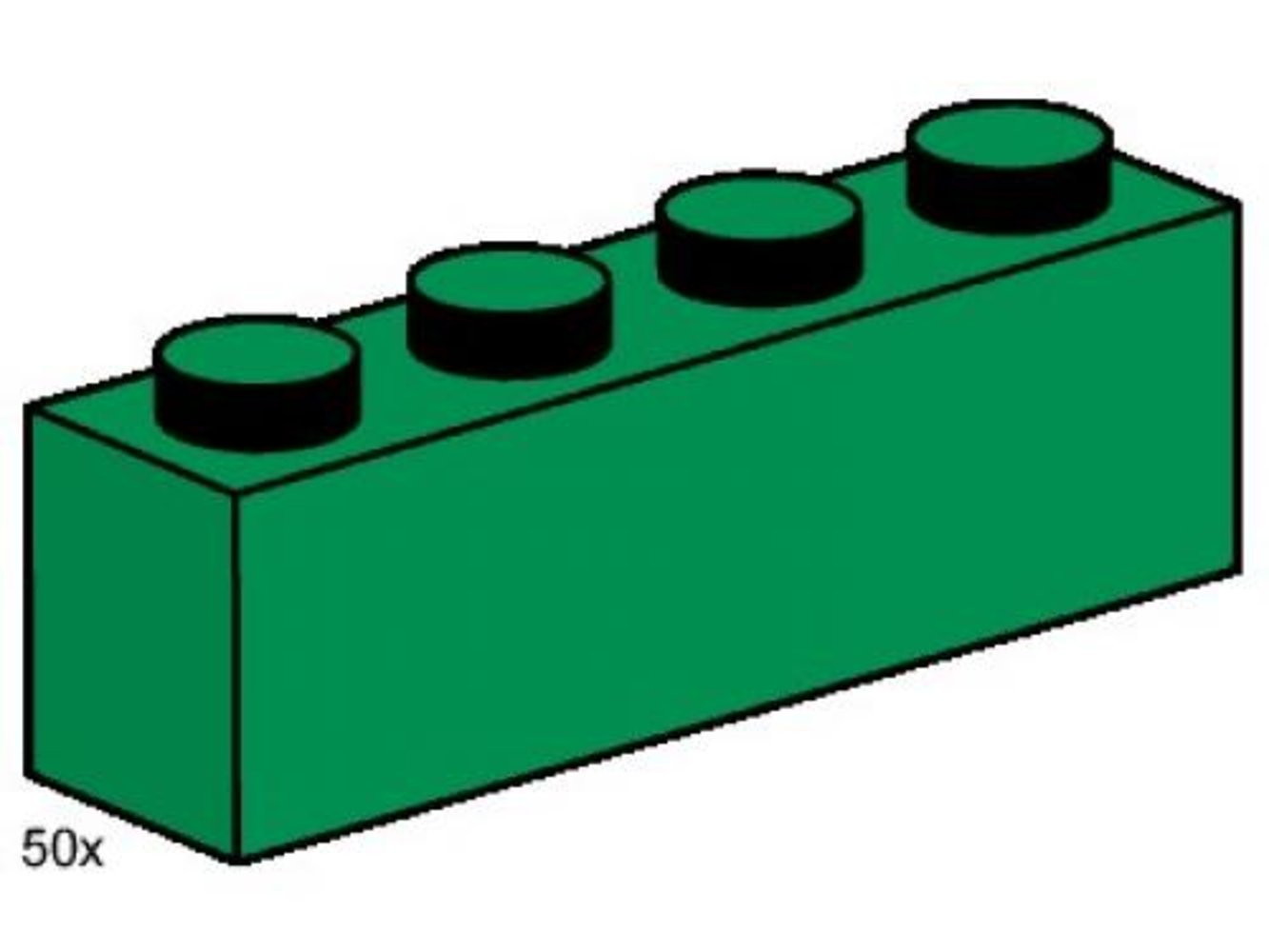 1 x 4 Dark Green Bricks
