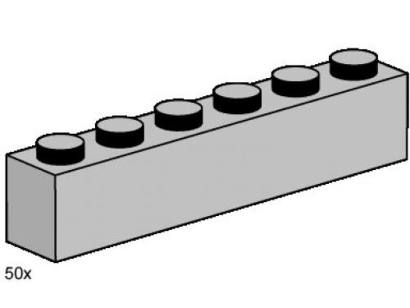 1 x 6 Light Gray Bricks