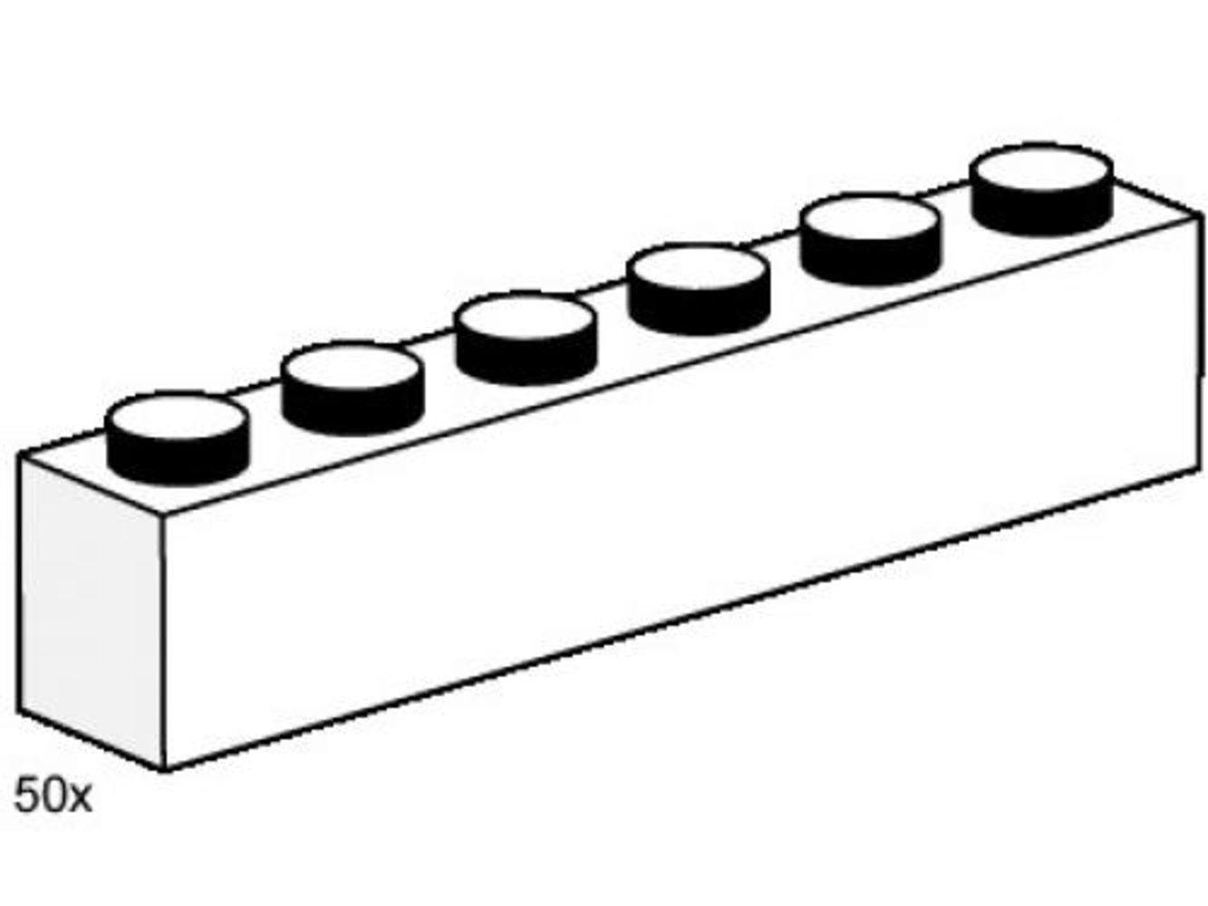 1 x 6 White Bricks