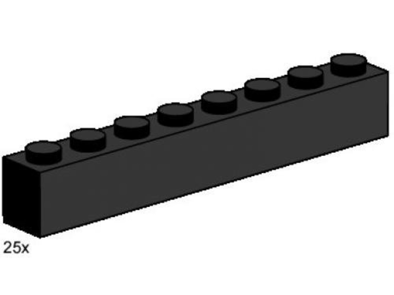 1 x 8 Black Bricks