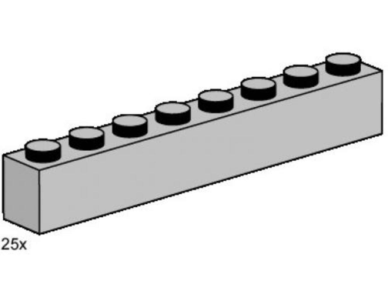 1 x 8 Light Grey Bricks