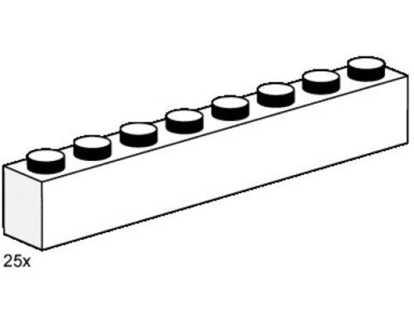 1 x 8 White Bricks