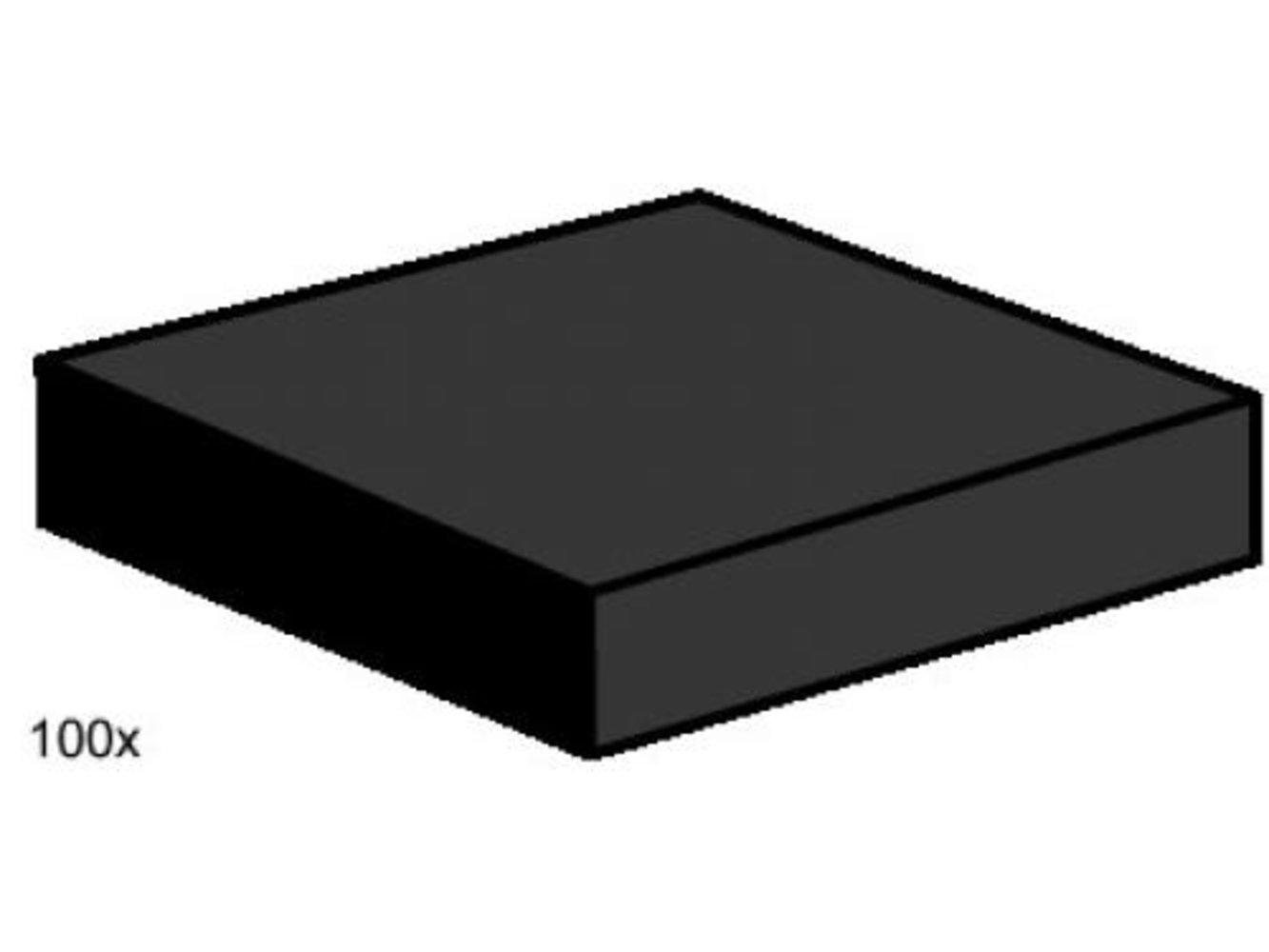 2 x 2 Black Smooth Tiles