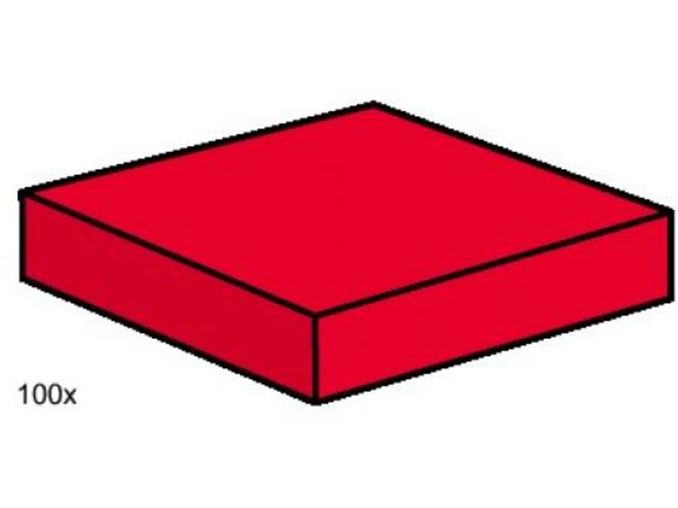 2 x 2 Red Smooth Tiles