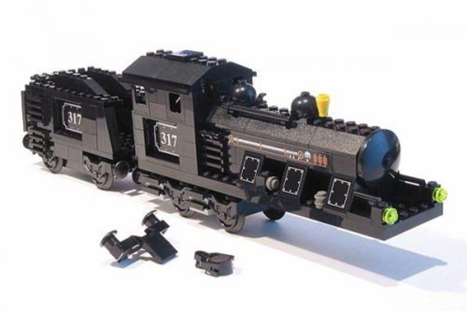 Large Train Engine with Tender Black (Motorizable, sets 4534, 4535)