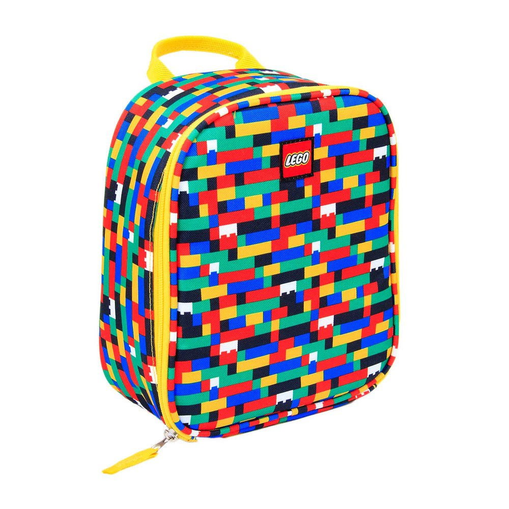 Brick Print Lunch Bag (Red/Blue)