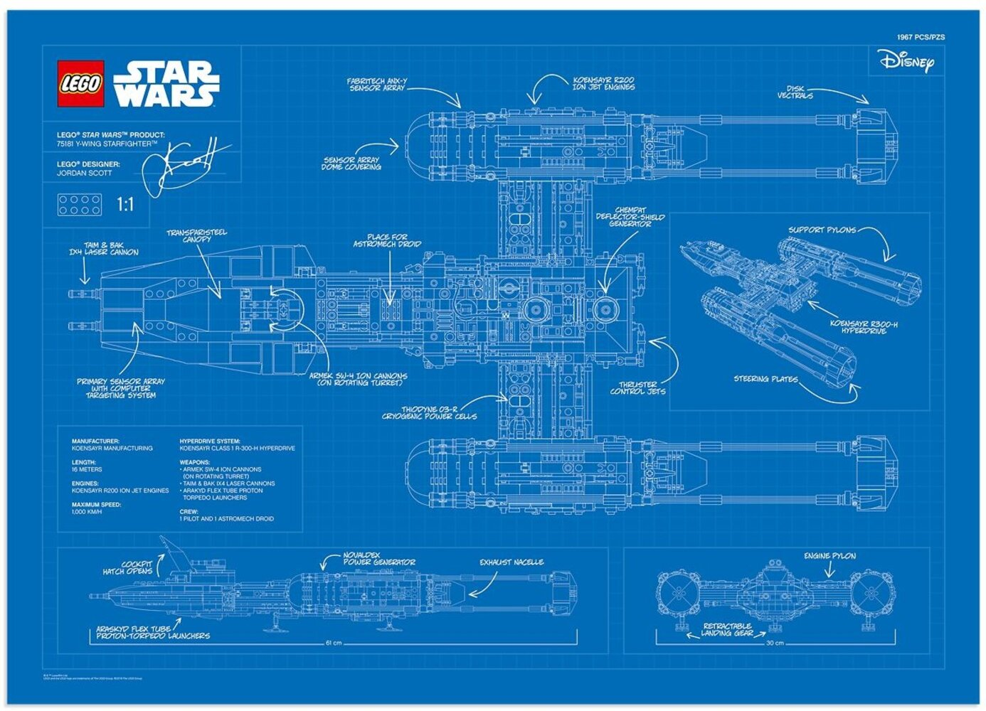 UCS Y-Wing Blueprint Poster