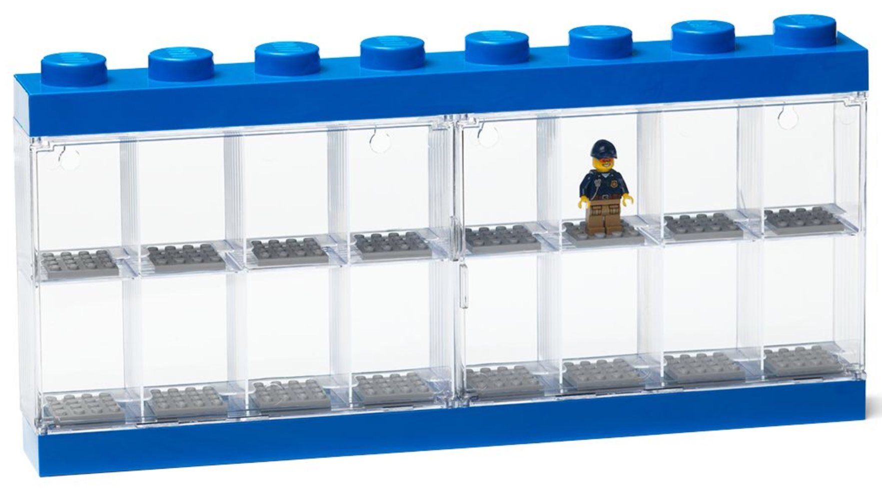 Minifigure Display Case 16 (Blue)