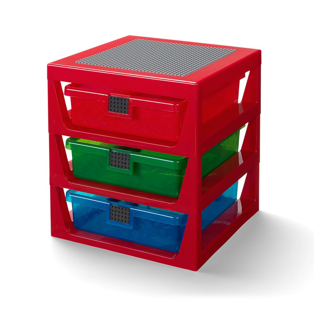 3-Drawer Storage Rack (Transparent Red)