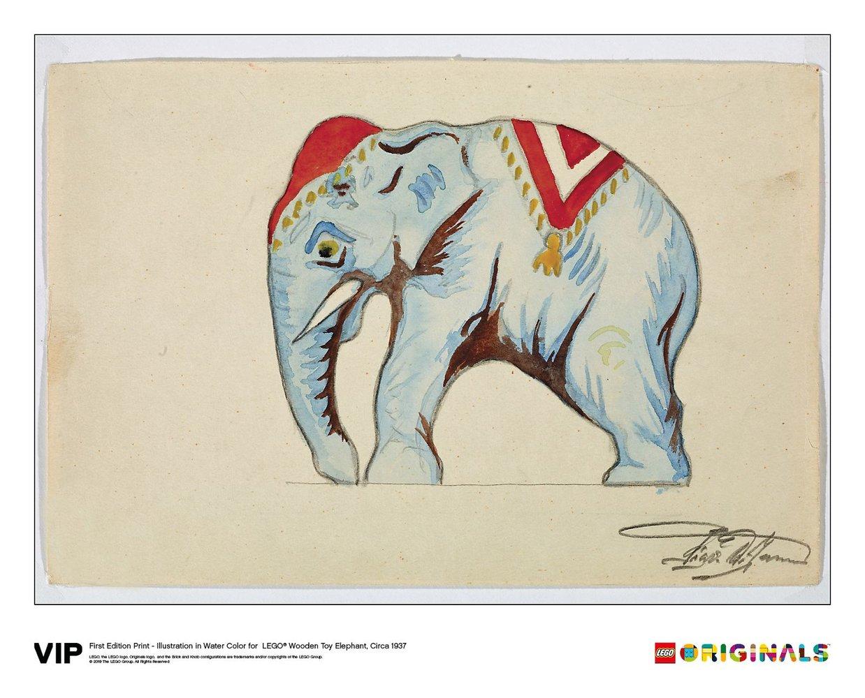 1st Edition Elephant Water Colour Print, Circa 1937
