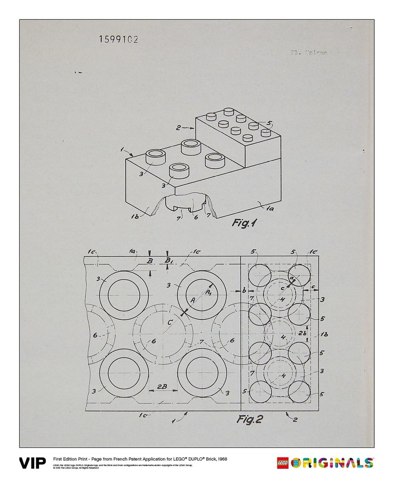 French Patent LEGO DUPLO Brick 1968
