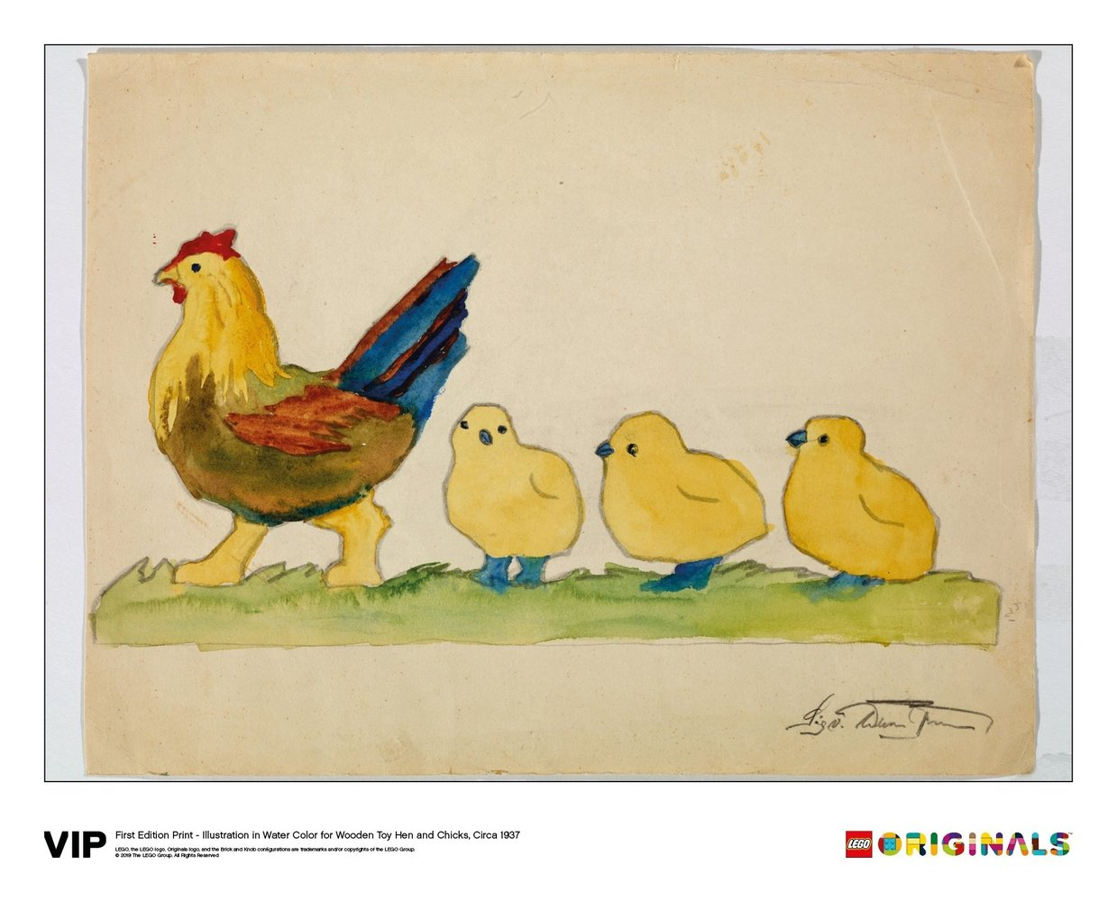 Illustration Wooden Toy Hen and Chicks