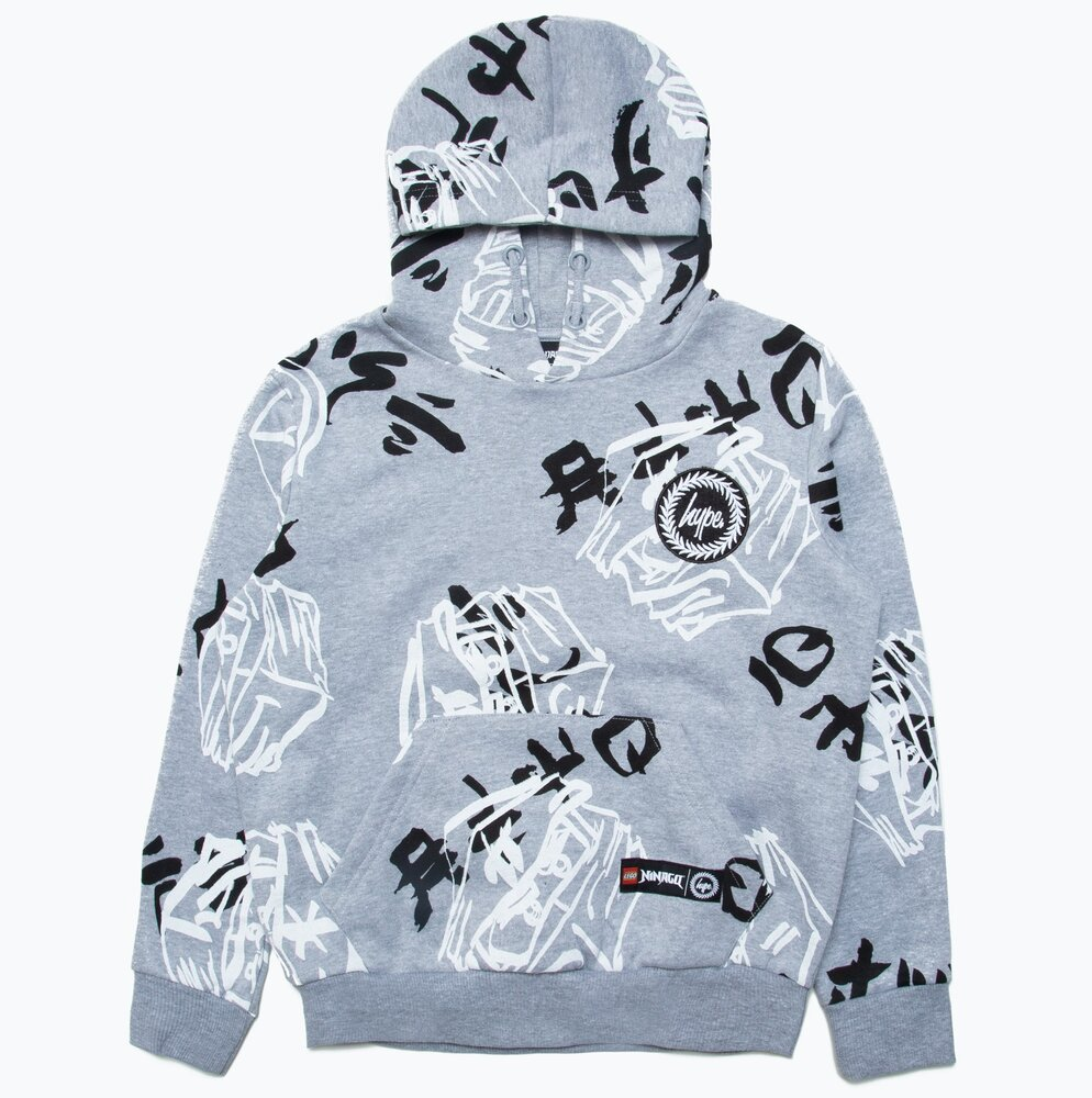 HYPE X LEGO NINJAGO Grey Just Hype Faces Pullover Hoodie