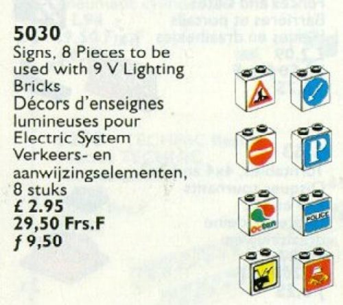 Signs for Use with Lighting Bricks 9V