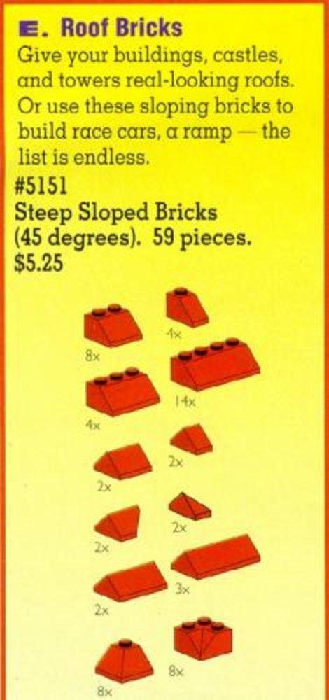 Roof Bricks, Red, 45 Degrees