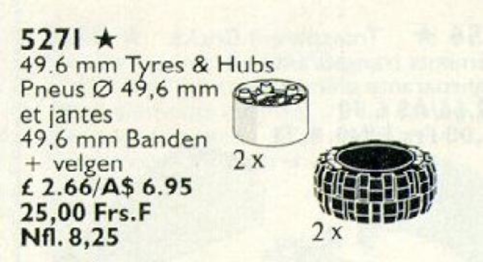 White Hubs & Tires / 49.6 mm Tyres & Hubs