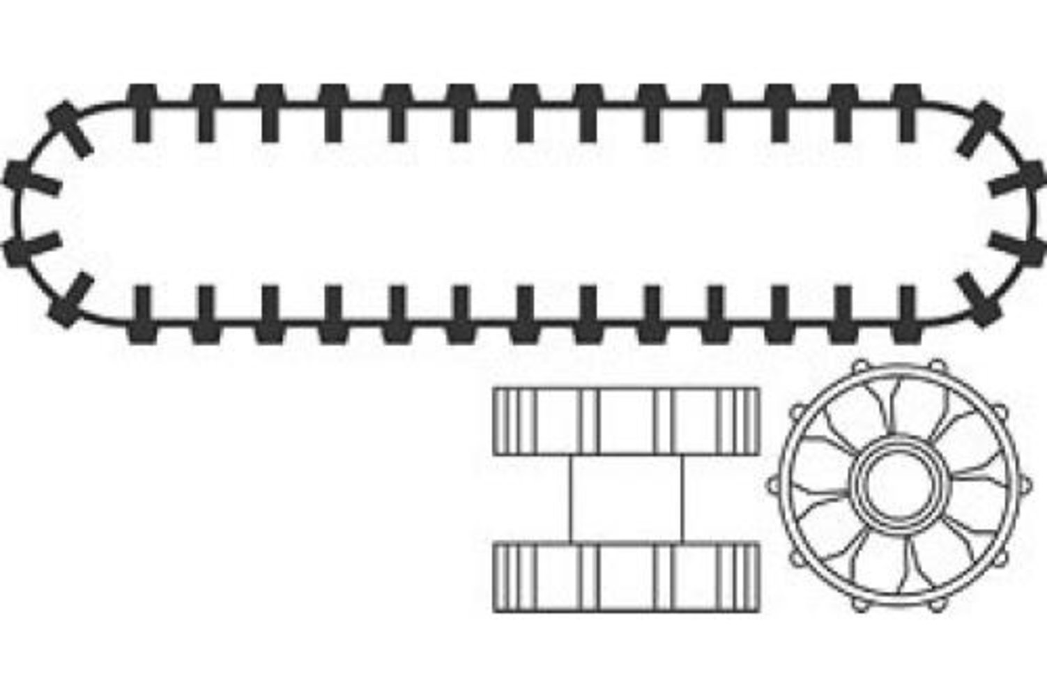 Caterpillar Hub and Tread (Set of 2 treads 4 Hubs)