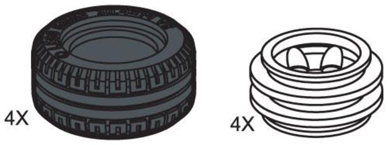 Small Lawn Tire & Hub (4 tires 4 hubs)