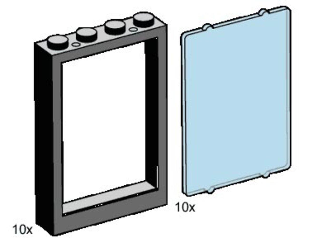 1 x 4 x 5 Black Window Frames, Transparent Blue Panes