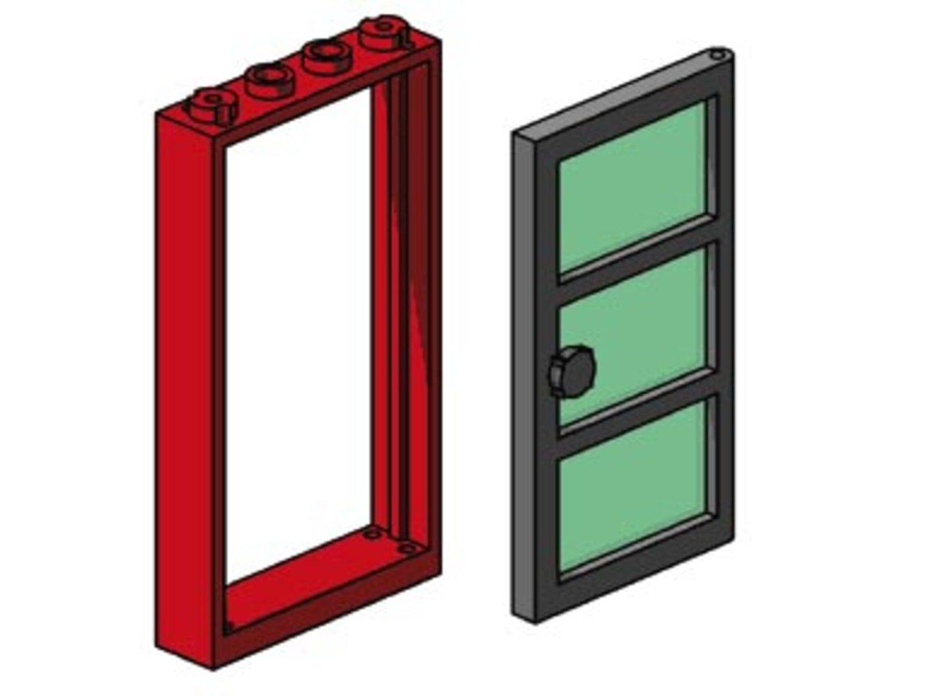 Red Frame, Black Door, Green Pane