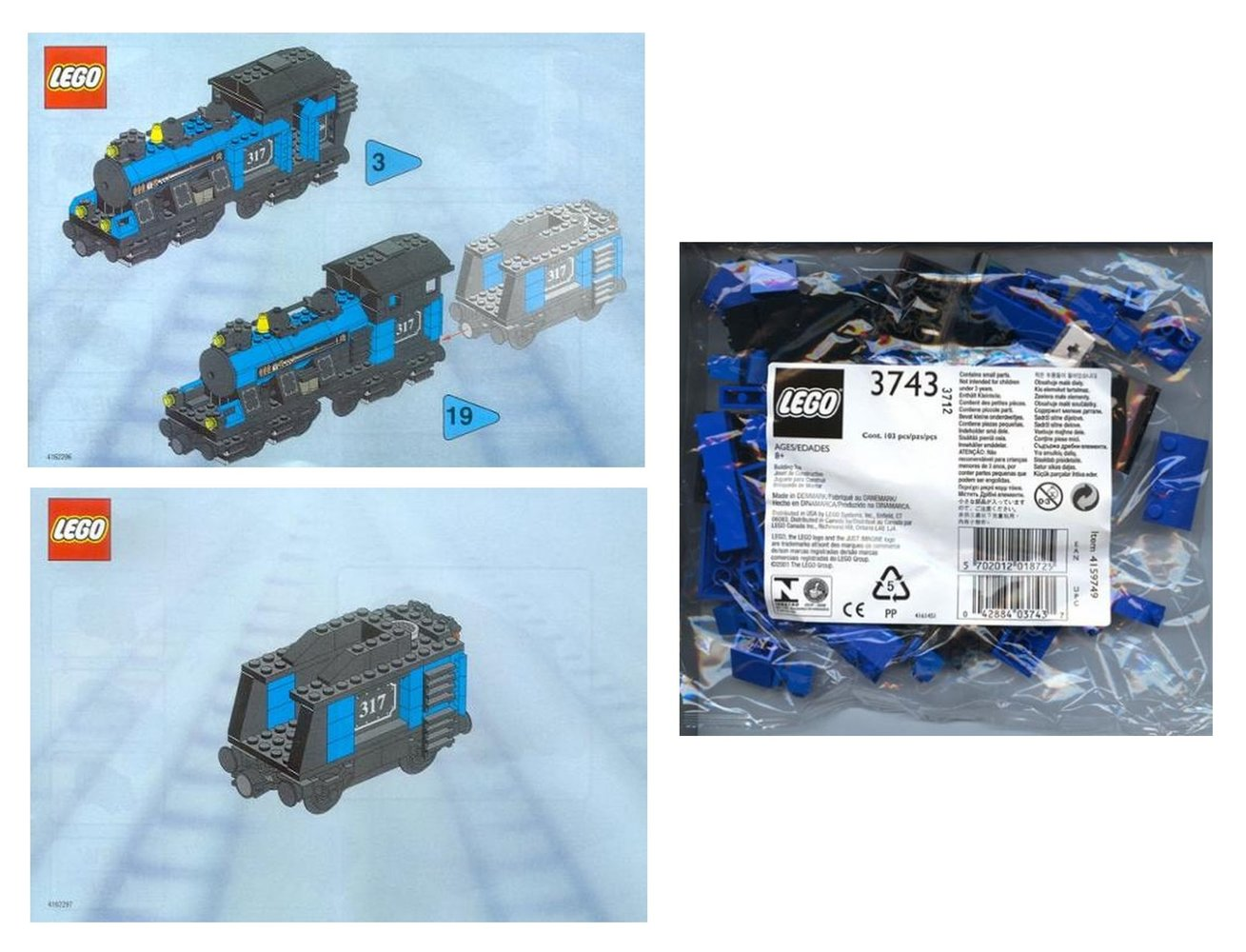 Large Train Engine with Tender Blue