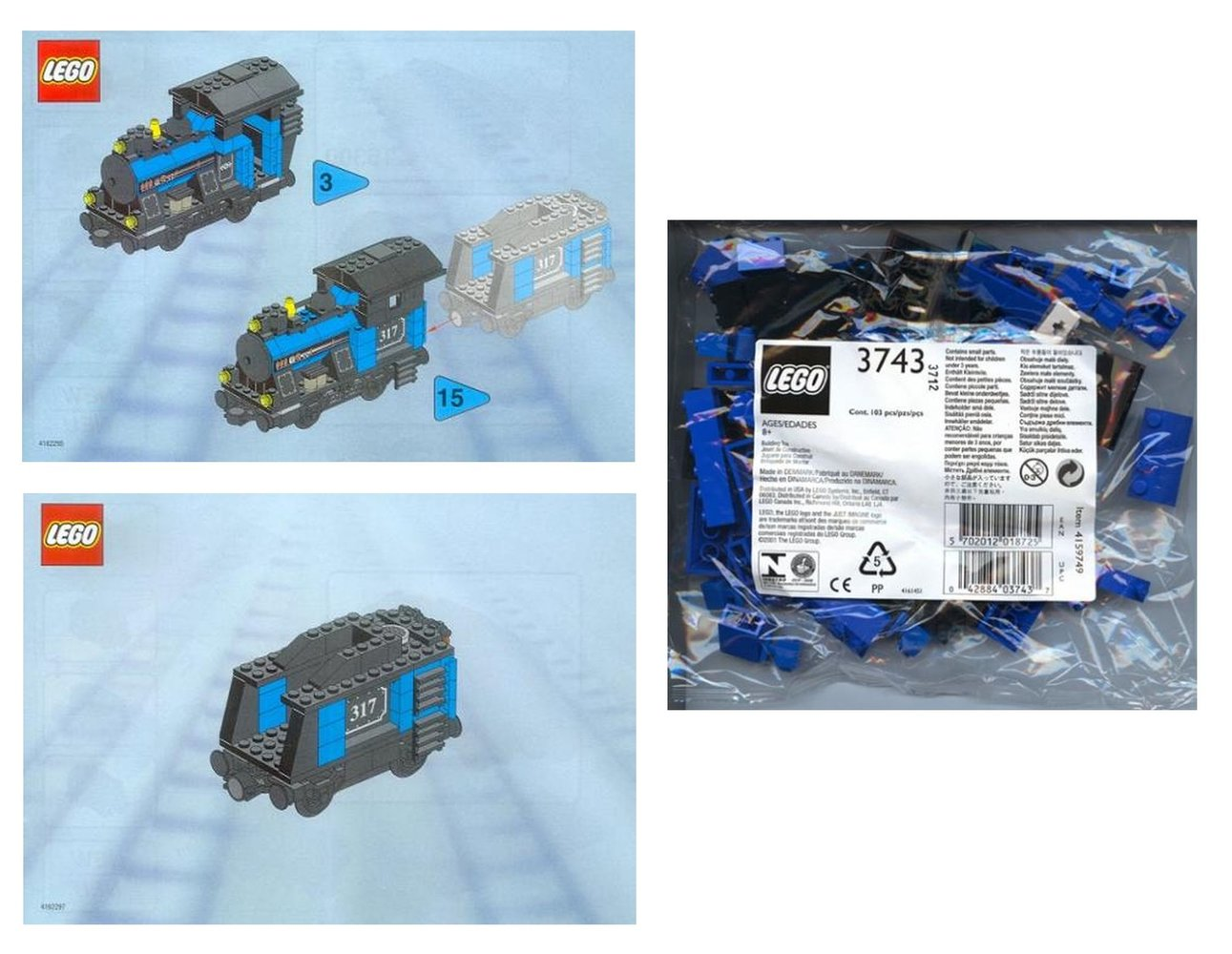 Small Train Engine with Tender Blue