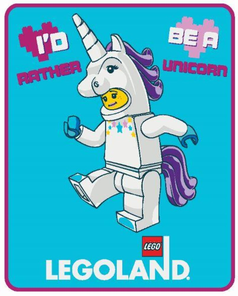 LEGOLAND Unicorn Girl Wishes Plush Throw