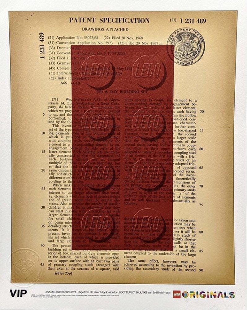 UK Patent LEGO DUPLO Brick 1968 Art Print