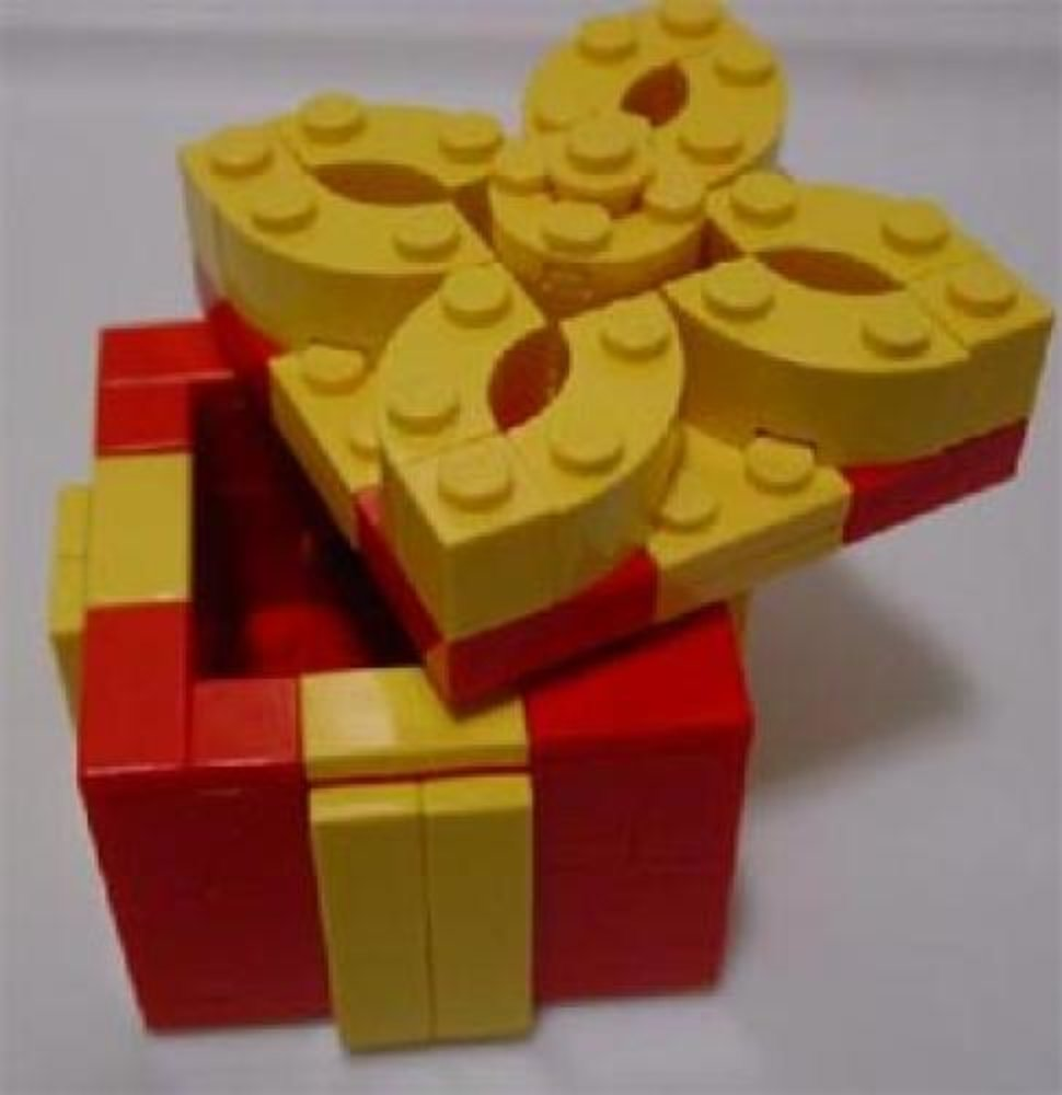 Holiday Gift Box (Red Box, Yellow Trim With Removable Top) (Legoland California)
