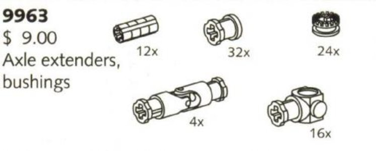Lego Technic 9963 Axle Extenders and Bushings